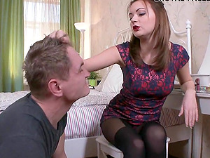 Skinny female dominance stunner penalizes her man with a dose of face sitting