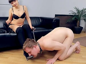 Hot Russian nymph and a collared fellow have lusty joy together