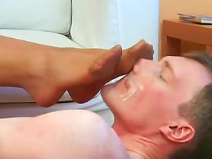 Nuzzling feet and being stomped make the sub stud so glad