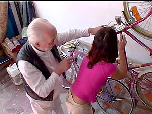 A pretty dark-haired nubile has fucky-fucky with a truly old dude