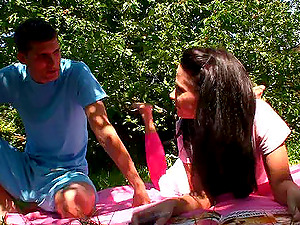 Horny dark-haired teenager being throbbed gonzo doggystyle in the forest