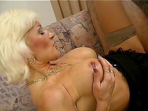 Classy mature broad with big tits Tiffany has her sweet muff slammed