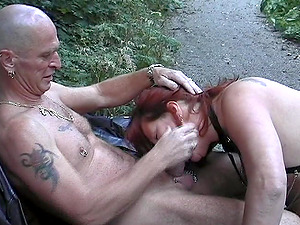 Mature chick with the crimson hair getting the hard screwing in the forest