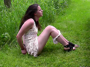 Saucy dark haired floozy gets restrained and covered with mud