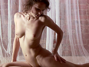 Supple Russian dame with auburn hair and her amazing solo demonstrate