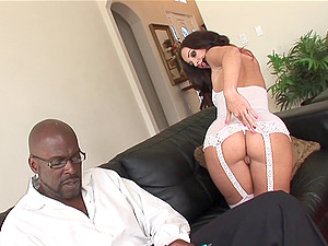 Gorgeous Jada Stevens smiles while railing the massive black sausage