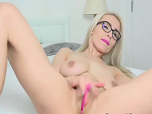 Blonde Teenager With Glasses Finger Fucks Her Vagina