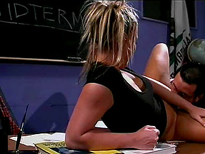 She can't pass the examination but she can get down and be penetrated!