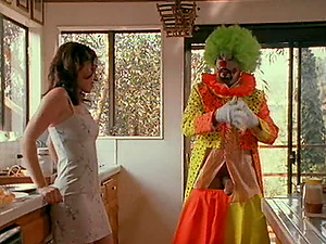 Black-haired hoe gets banged by the clown and loves it