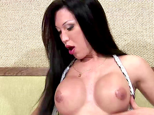 Ultra-cute brown-haired shemale masturbating using fucktoy lovely