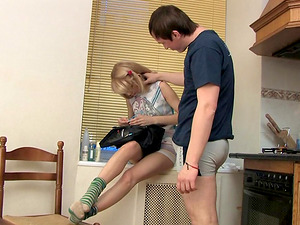 Insatiable blonde Katie loves playing with a big boner