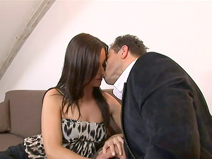 Brown-haired honey humps a stiffy with her booty to has her butthole boned