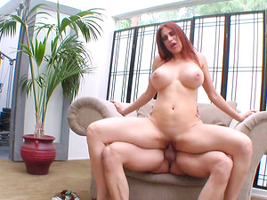 Ginger-haired with colossal melons Sheila Marie grabbed and boinked