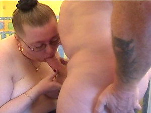 Obese woman in stockings is excellent at railing a hugde dong