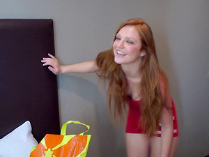 Ginger-haired school damsel Farrah has her youthful cunt exploited