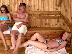 Sophie Lynx and Lina Napoli attack a man in a sauna