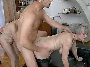 Teenager stunner and two grannies contest in a suck off battle