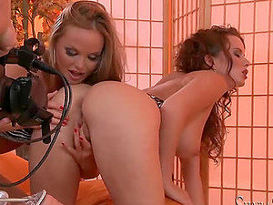 Silvia and Cindy masturbate their cootchies on pillows