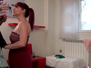 Insatiable chick with purple hair wants to feel a dick