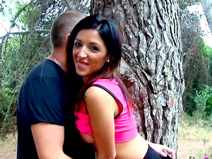 Passionate wild outdoor pussy drilling with ris Dar