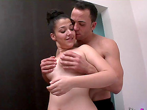 Plump chick ravished by a handsome lover during a shag