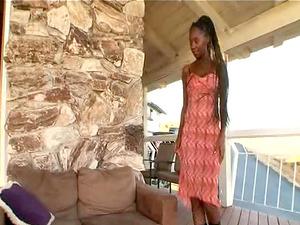 Randy chick Nina Simone caught masturbating by a hot fellow