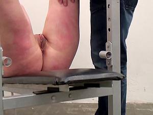 Submissive Angela Eyes has her soaking wet pussy toyed brutally