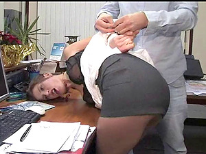 Naughty office worker Kirsten tied up to a chair by a kinky man