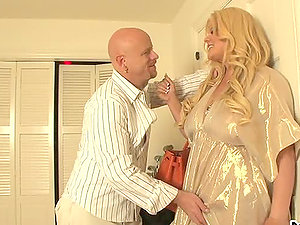 chubby blonde transsexual stunner fucks a dude in the butt