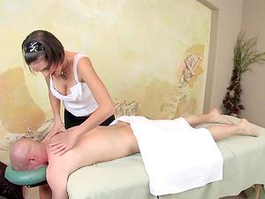 Busty Teen's Massage Gets His Cock Rock Hard