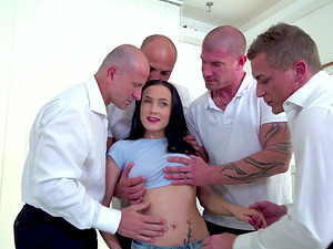 Nicole Love attacked by an army of erected pleasure rods