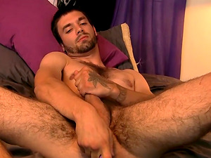 Hairy thug Jeremy Cox jacks off his large hairy prick