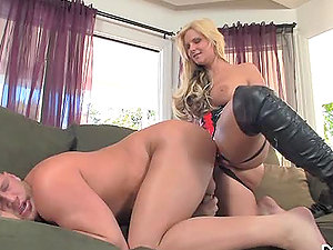 Stunning Phoenix Marie fucks a boy with strap on fuck stick