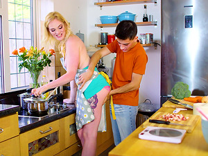 Wannabe stud fucking the MILF Carly Rae hard from behind in the kitchen