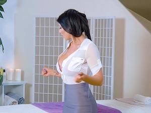 Stunning MILF Romi Rain spreads her legs for a fine man's dick