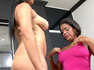 Ana Luz and Celiny Salles spread their legs for a lesbian fuck