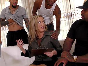 Hot chick Carmen Valentina enjoys a bunch of black dongs