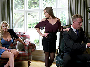 Alessandra Jane and Emma Butt want to fuck their boss