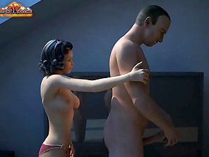 Sexy 3D dark-haired deep-throats her BF's shaft and gets her snatch prettily fucked