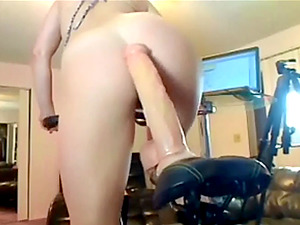 Bike exercise with huge huge dildo in pussy