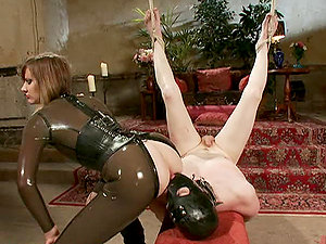 Mistress in Spandex Garb Gives Ball and Jizz-shotgun Torment for Dude Before Fuck-a-thon
