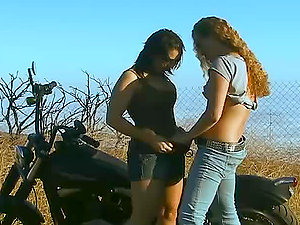 Sexy damsel getting fucked hard by shemale outdoors