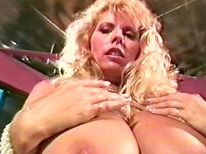 Huge boobs pornstars in a retro 90's scene