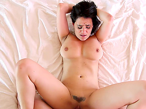 Black-haired honey Charley Chase putting a boner in her mouth