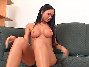 Big-chested black-haired ultra-cutie deep-throats a fake penis and then a real penis