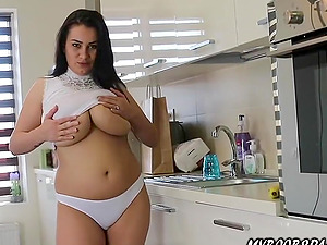 Helen Star she doing homework and masturbate in kitchen