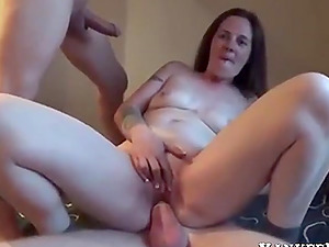 Brunette chick with big tits gets double penetration.