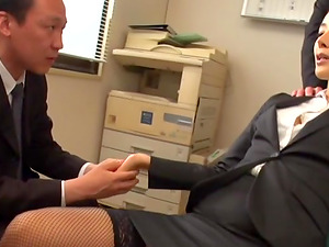 Gorgeous business woman Morishita Mio pleasuring two wieners