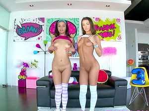 Tiny teens Maya and Lily blowbang