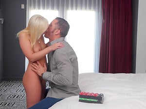 Blonde sweetie Cleo Vixen finally gets to ride a fat pecker